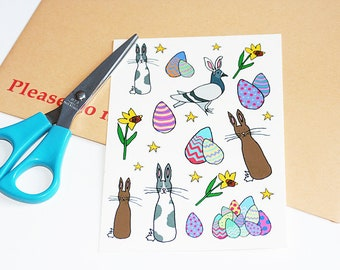 Easter Egg, Bunny, Pigeon, Daffodil Illustration A6 Sheet of Temporary Tattoos