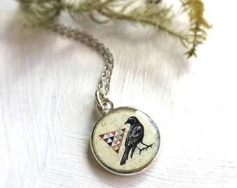 Crow Necklace, Bird jewelry, Black bird, Crow jewelry, Crow art