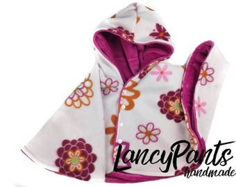 Size 2 pink flowers minky car seat poncho - ready to ship - winter kids children's poncho  - 12 months - 12-18 - 12-24 - 18-24 months