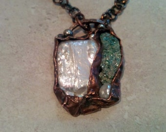 Green Fuschite Necklace, Copper Pendant, Jewelry, Mother of Pearl, Sterling Silver Accents, Foldformed Bezels, Jewellery