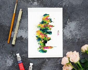 watercolor city print