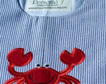 Red Crab on Blue Seersucker Jon jon or Jumper