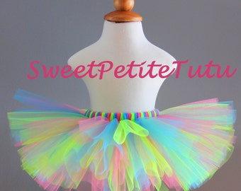 Hot Pink, lime green, turquoise blue tutu, Preemie, Newborn to 10/12 girls, Sweet Petite Tutu, Baby Tutu, Birthday, multi color, bright