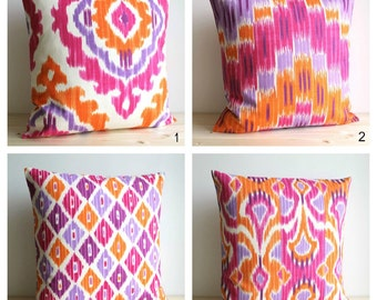 10x10, Orange and Pink Ikat Pillow Cover, Ikat Cushion Cover, Pillow Sham, Pillow Covers, Accent Pillows - Ikat Tangerine Collection
