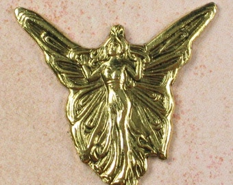 Fairy Metal Stamping Jewelry Findings Antique gold 511 - 6 pieces