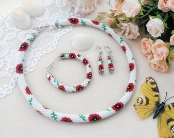 Bead crochet necklace Poppy flower necklace white Bead flower bracelet Flower earrings Poppy jewelry Ethnic necklace Summer jewelry set gift