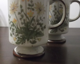 Pair of Footed Ceramic Floral Mugs