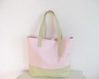Pastel Tote Bag, Pastel Pink Purse, Basic Tote in Blush, Pastel Handbag, Reusable Shopping Bag, Linen Tote Bag for Women