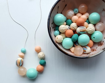 ice cream truck necklace - summer jewelry - mint green, peach, stripes, teal - vintage beads, colorful jewellery