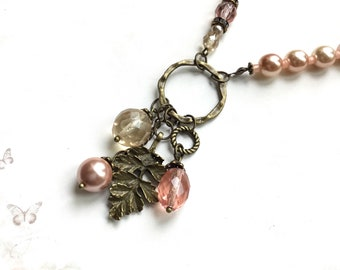 Pink Vintage brass necklace pink pearl necklace