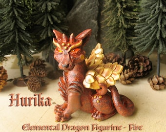 Hurika - The Elemental Fire Dragon Figurine - Polymer Clay Handcrafted Winged Dragon Sculpture  - Swarovski Fire Opal Faceted Crystal Eyes