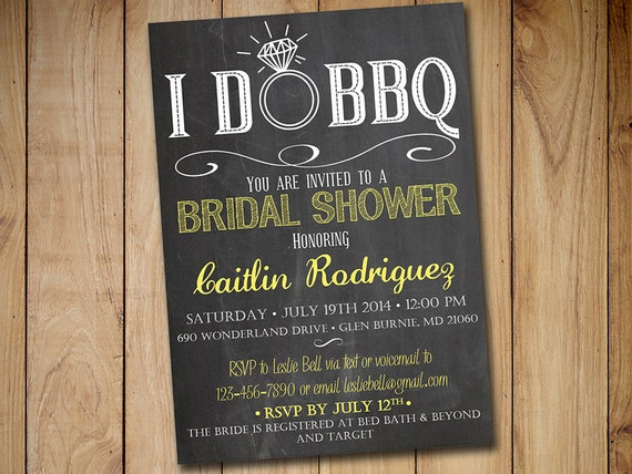 Invitation For Wedding Party: I DO BBQ Bridal Shower Invitation Template Chalkboard