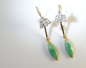 Art Deco Earrings Green Jade Earrings Art Deco Diamond Earrings Diamond Jade Jadeite Jade Drop Earrings 18K Gold Gatsby Jewelry Wedding