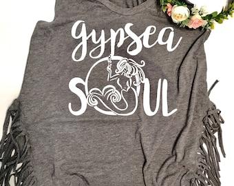 Gypsea Gypsy soul shirt | gypsy shirt gypsea shirt | mermaid shirt beach shirt | gypsy shirt wanderlust shirt fringe shirt hippie shirt