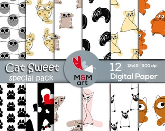 Cat Sweet  Print Special Pack Download Digital Backdrop Pattern ,Scrapbooking Paper,Invites,Cardmaking 12x12 inches Download Printable