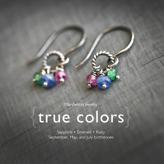 True Colors - Genuine Sapphire, Emerald, Ruby Sterling Silver Earrings