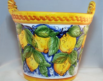 Traditional Sicilian Decorated Vase Planter with Handles