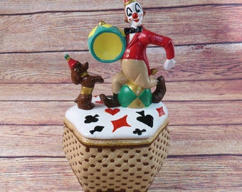 Circus Clown & Dog Ceramic Cookie Jar with Lid Hand Painted