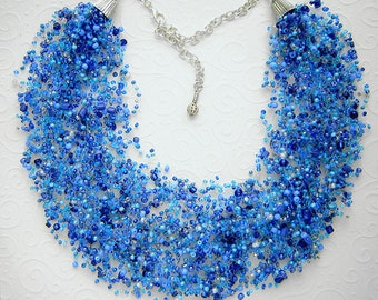 blue air necklace, multistrand necklace, beadwork necklace