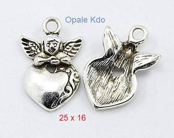 Set of 2 Angel and heart 25 x 16 mm silver metal charms