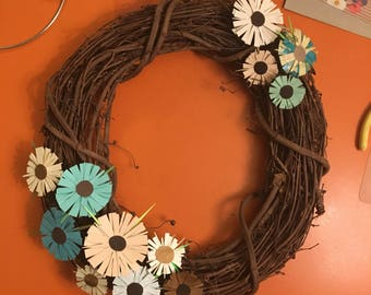 Grapevine Wreath with Paper Flowers