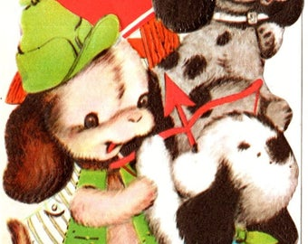 Puppies Playing To Son Vintage Valentine's Day Greeting Card 1960's