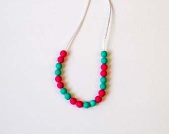 Girls silicone turquoise and hot pink necklace, mini beads, toddler teething necklace, sensory necklace, RTS