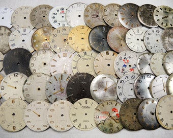 Vintage Watch Faces - Round big watch faces - set of 50 - c134