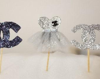 Designer cupcake topper, glitter cupcake topper