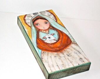 Saint Bernadette Shepherdess - Giclée-Druck auf Holz (3 x 6inches) Volkskunst von FLOR LARIOS montiert