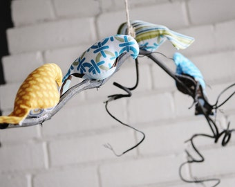 Bird Mobile ~ Curly Branches ~ Curly Branched Bird Mobile ~ Customizable Bird Mobile~ Single Tiered Bird Mobile ~ Natural Bird Mobile