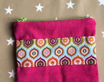 Hippie fabric fuchsia velvet purse