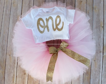 First Birthday Outfit Girl, 1st Birthday Girl outfit, Cake smash outfit girl, Pink and Gold Girls first birthday outfit, 1st birthday Tutu