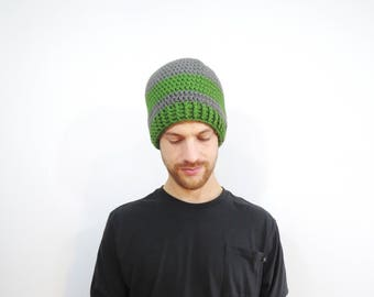 Gray and Green Mens Hat. Striped Beanie Hat. Crochet Beanie Hat. Knit Gray Green Hat. Mens Fall Fashion. Winter Accessories. Mens Fitted Hat