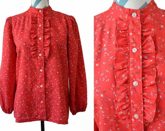 Vintage Cherry Red Long Sleeve Blouse with Ruffles- Prarie Style 70s Top- Non Print Leaf Motif Gray Red White- Small