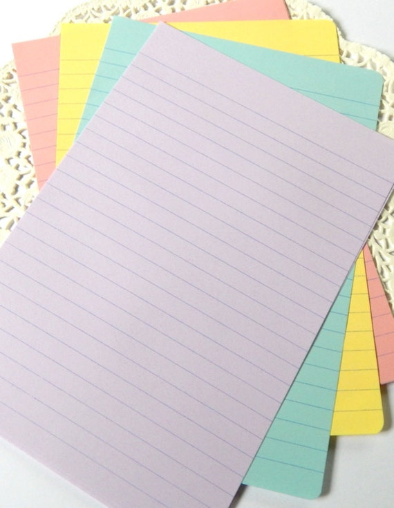 Pastel Notebook Paper Pastel Lined Paper Rainbow Stationery