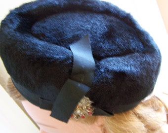 "Vintage 60's ""BLACK BERET HAT"" with Embellishment Soft Fur Feel"