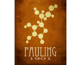 Chemistry Art. Linus Pauling 11x14 Science Art Print. Molecular Structure, Science Gift. School Decor. Lab Art. Geek Science Teacher Gift
