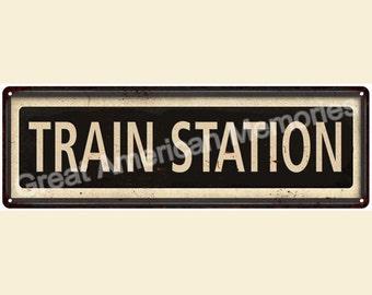 Framed Train Station Vintage Look Reproduction 6x18 Metal Sign 6180036