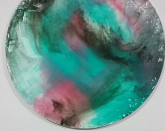 """Original Contemporary Ink and Pouring Medium 30"""" Round Canvas Painting"""
