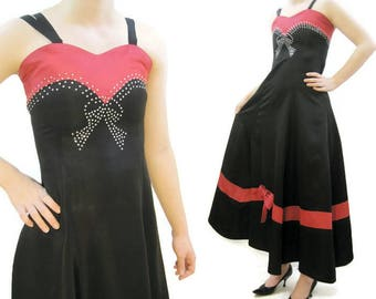 Vintage 30s 40s Gown Rhinestone Bow Dress Red Black Taffeta Evening Formal XS