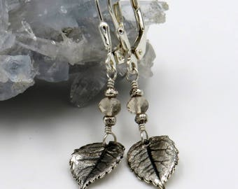 Rose Leaf Earrings - fine silver, sterling silver, scapolite rondelle - one of a kind!