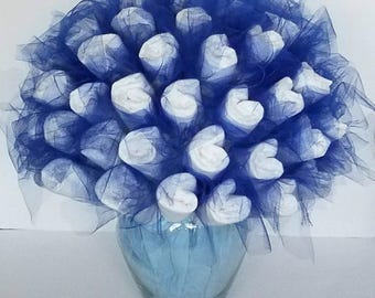 Diaper bouquet - baby shower centerpiece - baby shower decorations - baby shower gift - baby boy gift - new mom gift - mom to be gift