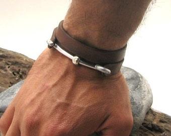 Personalized bracelet Men's leather bracelet Leather wrap men's bracelet with metal work clasp, Men aniversary gift, Mens jewelry,