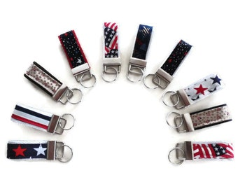 Mini Keyfob, Patriotic Keychain, 4th of July Keyfob Accessories, Gift For Men and Women Handmade By DonnaLeeBags