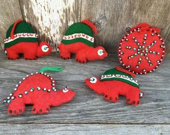 Vintage Felt Turtle Christmas Ornaments with Beading, Ball Ornament