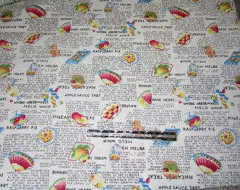 Cotton Fabric Print.  Food Dessert Recipes. Strawberry Dream, Raspberry Pie, Pineapple Treat ingredients fabric by Hi Fashion fabrics.  BTY
