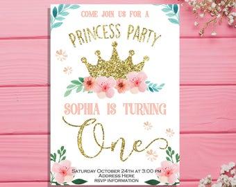 Princess Invitation, Princess birthday invitation, Gold crown invitation, Gold glitter pink printable, Princess invites Digital Printable