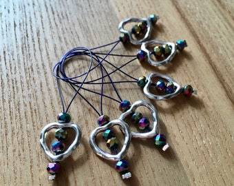 Knitting Stitch Markers, Snag Free Stitch Markers Set of 6, Heart Charm Dark Blue Crystal, Knitting Tools, Gift for Knitters, Yarn Lover