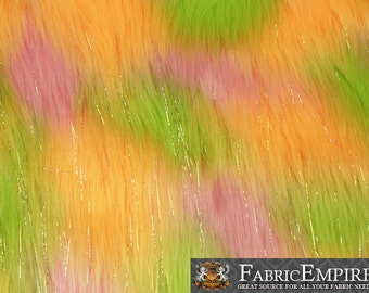 """Faux Fur Fabric Long Pile Rainbow SPARKLING Tinsel Yellow Pink Green/ 60"""" Wide / Sold by the yard"""